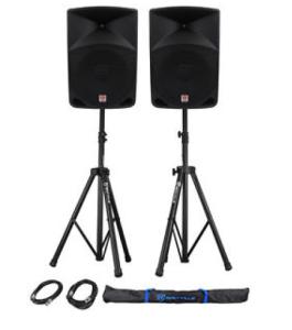 2 Self Powered Speakers on Stands-Airwaves