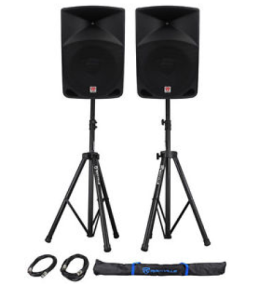 2 Self Powered Speakers on Stands-Airwaves